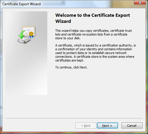 The Welcome screen of the Certificate Export Wizard
