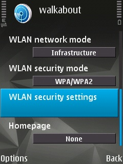 The second half of the Access Point configuration page on the Symbian Device