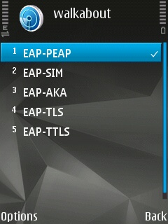 The EAP plug-in settings on the Symbian device