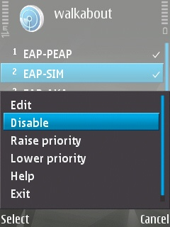 EAP plug-in settings screen on the Symbian device showing how to disable a plug-in.