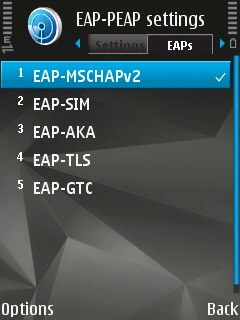 EAP-PEAP Settings screen with the EAPs tab open on the Symbian device