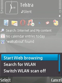 Using the 'Walkabout' access point to start web services on the Symbian device.