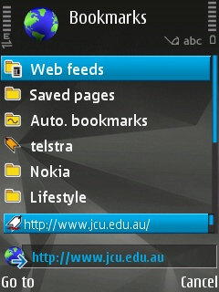 Entering jcu.edu.au using the Symbian web browser