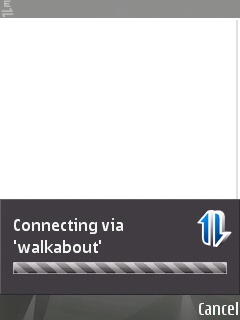 The screen on the Symbian device showing that the connection is loading.