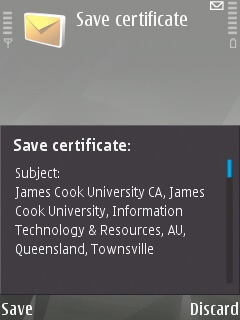 The 'Save Certificate' screen on the Symbian device