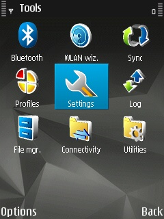 Tools menu on a Symbian device with the 'Settings' submenu selected