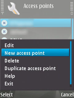 Access Point Options menu on a Symbian device with the 'New Access Point' option selected