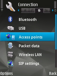 Connection menu on a Symbian device with the Access Point submenu selected