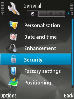 The 'security' icon selected in the 'General Settings' menu of the Sybian Device