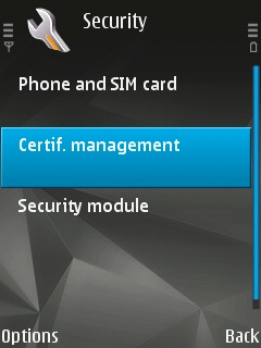 The 'Certif. Management' submenu selected in the 'Security Settings' menu of the Symbian device