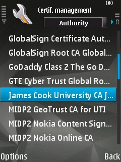 The certificate manager on the Symbian device showin the 'James Cook University CA' selected