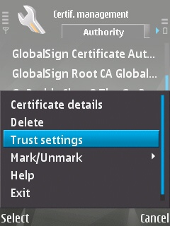 the 'Trust Settings' menu option in the 'Options' menu of the certificate manager on the Symbian device